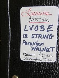 Larrivee CUSTOM LV-03E, Italian Alpine/Peruvian Walnut!