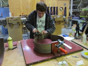 Young luthier glues bent sides together!