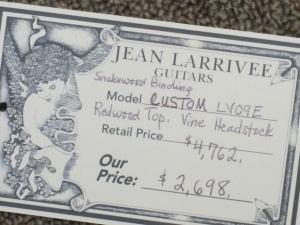 Larrivee Custom LV-09E, Redwood/East Indian Rosewood, Vine Headstock