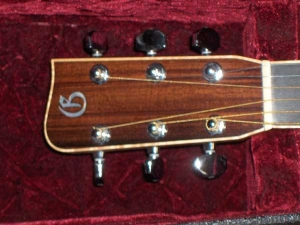 The Doc Watson Signature Model has Flamed Maple binding, Ebony fretboard and bridge, African Mahogany for back and sides, Alaskan Sitka for top-6