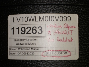 Larrivee Custom LV-10E, Walnut/Italian Alpine Sruce, Vine Headstock